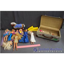 Suitcase Full of Barbie & Ken Dolls w/Accessories