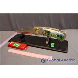 Oversized John Deere Pocket Knife (American Farmers Feed the World) w/Stand & John Deere Watch