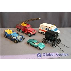 (5) Toy Cars, Ambulance (Matchbox) & a Carriage