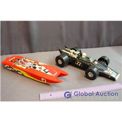 (2) Toy Vehicles (Race Car, Speed Boat)