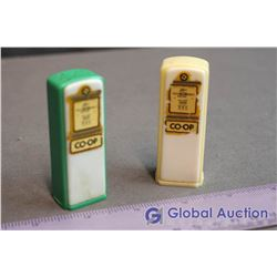 (2) Co-Op Plastic Gas Station Salt & Pepper Shakers