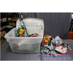 Lot of Misc Toys & Plastic Tote