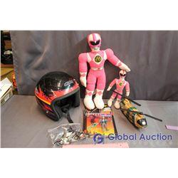 Lot of Misc Toys (Power Rangers, Helmet, Batman)