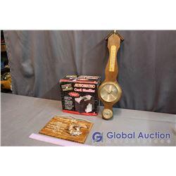 Automatic Card Shuffler, Barometer, Deer Wall Hanging