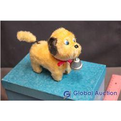 Vintage Windup Tin/Fur Dog Toy - Working