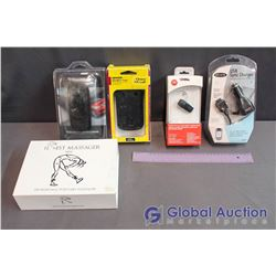 Lot Of Tech In Box (USB Sync Charger, Bluetooth Headset, Massager, Cases)