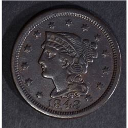 1848 LARGE CENT, XF