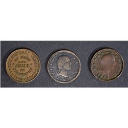 3- AVE CIRC CIVIL WAR TOKENS