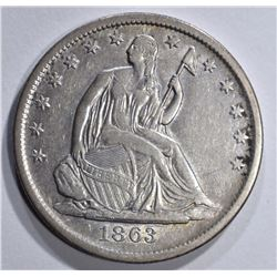 1863-S SEATED HALF DOLLAR, XF+