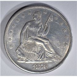 1876-S SEATED HALF DOLLAR, CH BU scratches