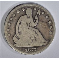 1877-CC SEATED HALF DOLLAR, G/VG