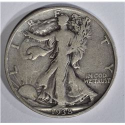 1938-D WALKING LIBERTY HALF DOLLAR, VF+