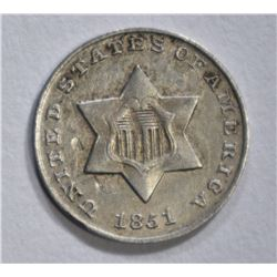 1851 3 CENT SILVER AU MARKS