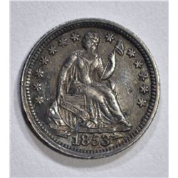 1853 ARROWS SEATED LIBERTY HALF DIME AU
