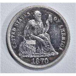 1870 SEATED LIBERTY DIME AU/BU