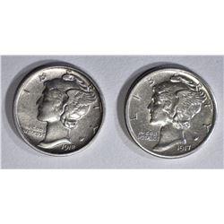 1917-S, & 18-D MERCURY DIMES AU/BU
