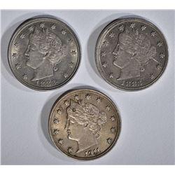 1911 AU/BU SPOT, 2 1883 NO CENTS AU V NICKELS