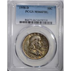 1958-D FRANKLIN HALF DOLLAR PCGS MS66FBL