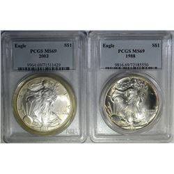 1988 & 2003 AMERICAN SILVER EAGLE DOLLARS