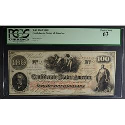 1862 $100 CONFEDERATE STATES OF AMERICA