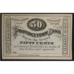 1862 FIFTY CENTS PROVINCETOWN BANK