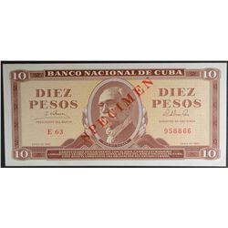 1965 10 PESOS CUBA #958866 SPECIMEN NOTE