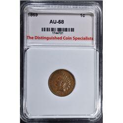 1869 INDIAN CENT, TDCS AU/BU