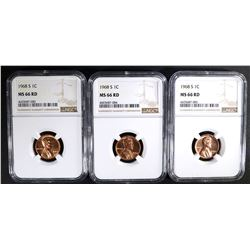 3 - 1968-S LINCOLN CENTS NGC MS66 RD