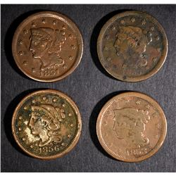 1851 F, 53 VG, 55 F,  & 56 FINE+ LARGE CENTS