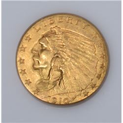 1910 $2.50 GOLD INDIAN CH BU WITH scratch