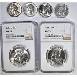 (2) 1963 D FRANKLIN 50c NGC MS63;