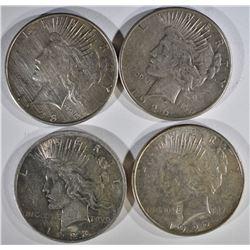 4 - PEACE SILVER DOLLARS: 1922-D, 1923,