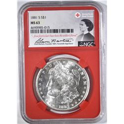 1881-S MORGAN DOLLAR NGC MS63