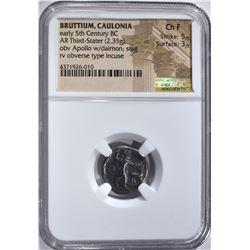 ANCIENT BRUTTIUM, CAULONIA COIN, NGC CH FINE