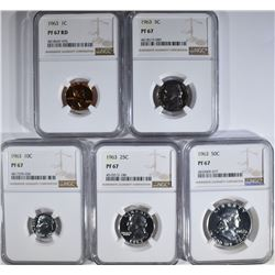 1963 PROOF SET ALL NGC PF-67