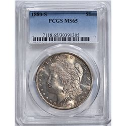 1880-S MORGAN DOLLAR, PCGS MS-65