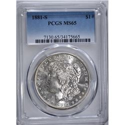 1881-S MORGAN DOLLAR, PCGS MS-65