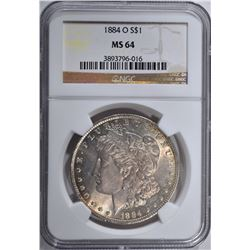 1884-O MORGAN DOLLAR, NGC MS-64