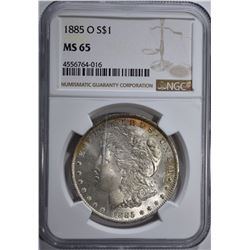 1885-O MORGAN DOLLAR, NGC MS-65