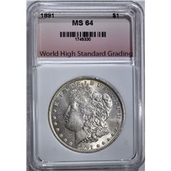 1891 MORGAN DOLLAR, WHSG CH/GEM BU