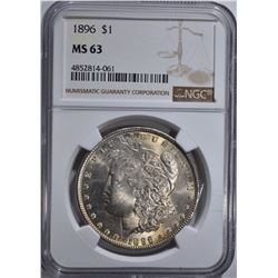 1896 MORGAN DOLLAR, NGC MS-63
