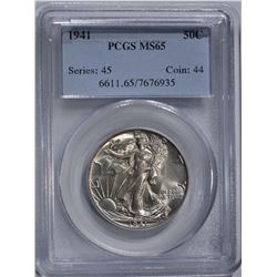 1941 WALKING LIBERTY HALF DOLLAR, PCGS MS-65