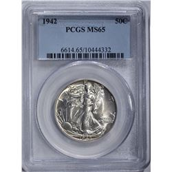 1942 WALKING LIBERTY HALF DOLLAR, PCGS MS-65