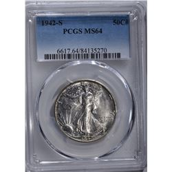 1942-S WALKING LIBERTY HALF DOLLAR, PCGS MS-64