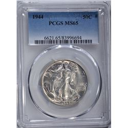 1944 WALKING LIBERTY HALF DOLLAR, PCGS MS-65