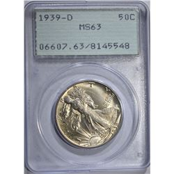 "1939-D WALKING LIBERTY HALF, PCGS MS-63 ""RATTLER"""