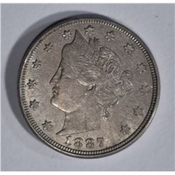 1887 LIBERTY NICKEL, AU
