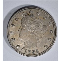 1883 WITH CENTS LIBERTY NICKEL, AU+
