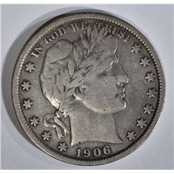 1906 BARBER HALF DOLLAR, VF