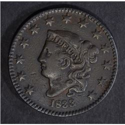 1833 LARGE CENT, XF